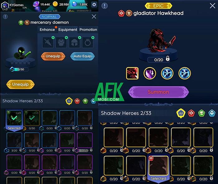 Trở thành thủ lĩnh của đạo quân chiến binh bóng tối trong Shadow Knight: Idle RPG 2